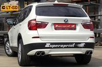 Supersprint Sportauspuffanlage rechts-links je 2x90 rund inkl. Metall-Kat. - BMW X3 F25 35i ab Bj. 11