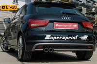 _Supersprint Sportauspuff Racinganlage links 2x80 rund inkl. Downpipe - Audi A1 1.4 TFSi (185 PS) ab Bj. 10