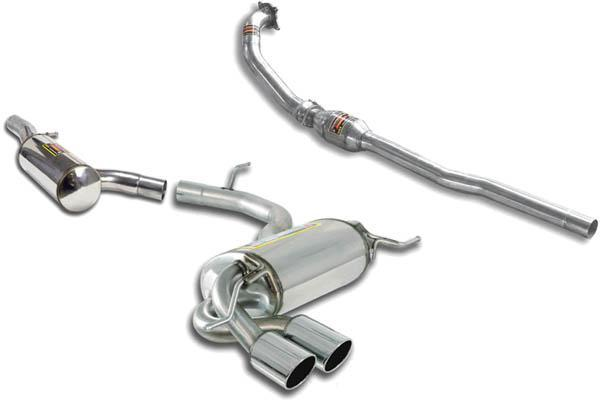 Supersprint Sportauspuffanlage links 2x 80 rund inkl. Downpipe mit Metal-Kat. - VW Tiguan 4-Motion 2.0 TSI ab Bj. 08
