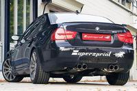 Supersprint Duplex-Sportauspuffanlage rechts links je 2x 80mm inkl. Race-Endschalldämpfer, Mittelschalldämpfer und Kat. - BMW M3 E90 Limousine ab Bj. 07
