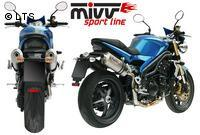 Mivv Sport-Line Oval High Up Titan Schalldämpfer Slip on für TRIUMPH SPEED TRIPLE 1050 Bj. 05-06
