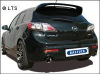 BASTUCK RACING Komplettanlage ab Kat. Mazda 3 MPS Typ BL ab Bj. 09 2.3l rechts links je 1 x 100mm Race Look schräg (RohrØ 70mm)